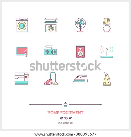Color line icon set of home equipment objects. washing machine, vacuum cleaner, game console, TV, audio equipment, cleaning appliances. Logo icons vector illustration - stock vector