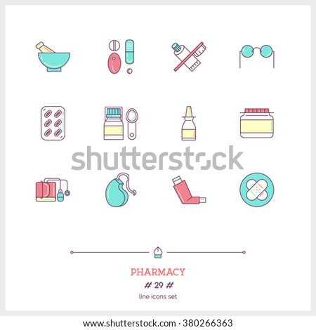 Color line icon set of pharmacy objects and products. Pharmacy pills, optics, herbal peels, dental care, hearing aid, inhaler, medicine, antibiotics. Logo icons vector illustration - stock vector