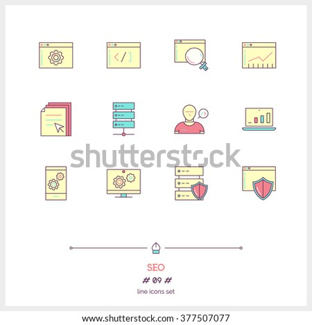 Color line icon set of SEO elements, big data center graph, internet protection password access, technical instrument. SEO, search engine optimization, programing. Logo icons vector illustration - stock vector