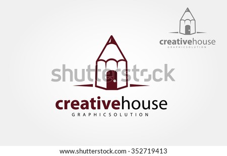 Color line pencil house. Easy to change colors. - stock vector