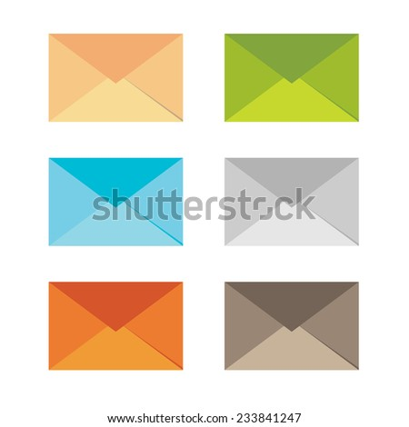 Color mail icon set in flat design style - stock vector