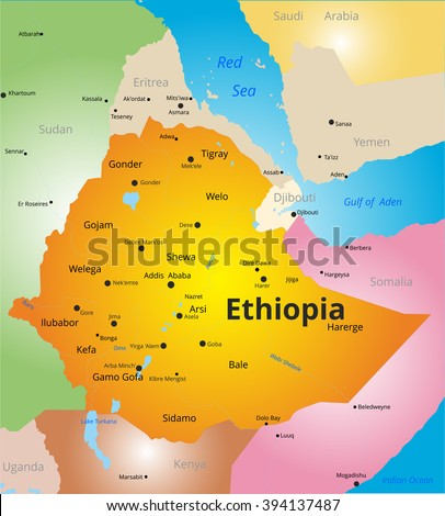 color map of Ethiopia - stock vector