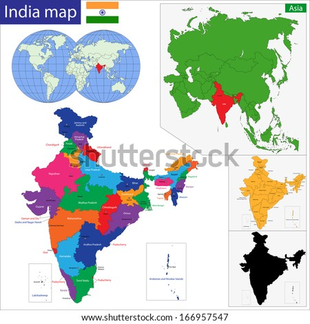 Color map of Western Asia divided by the countries - stock vector
