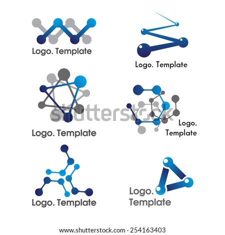 Color molecule icons and logos set,  isolated on white background, vector Illustration - stock vector