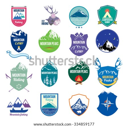 Color mountains vector icons. Mountains blank background for the text. Snowy mountains winter logo. Mountain landscape icon. Skiing winter mountains. Outdoor mountain scenery. Mountain camp sign. - stock vector