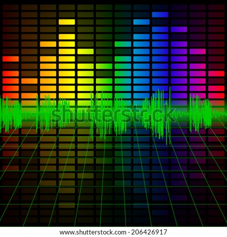 Color Music Equalizer and Audio Frequency, Vector illustration. - stock vector