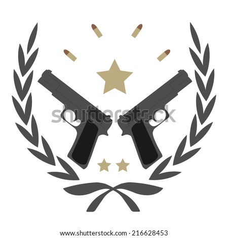 Color, no outline,  logo isolated on white with 2 pistols, bullets and stars in laurel wreath frame  - stock vector