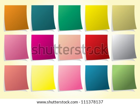 Color Note Paper - stock vector