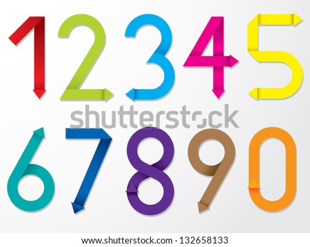 Color origami number set from 1 to 9 plus 0 - stock vector