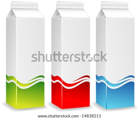 Color packages for juice, milk, paper packing for products, store illustration - stock vector
