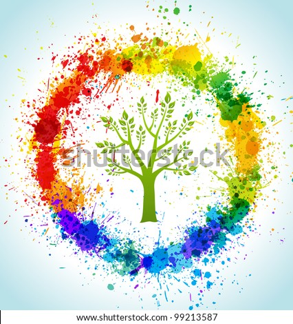 Color paint splashes eco background. Vector tree and frame. - stock vector