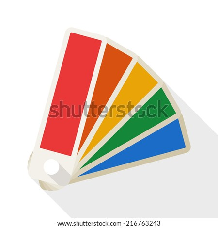 Color palette icon with long shadow on white background - stock vector