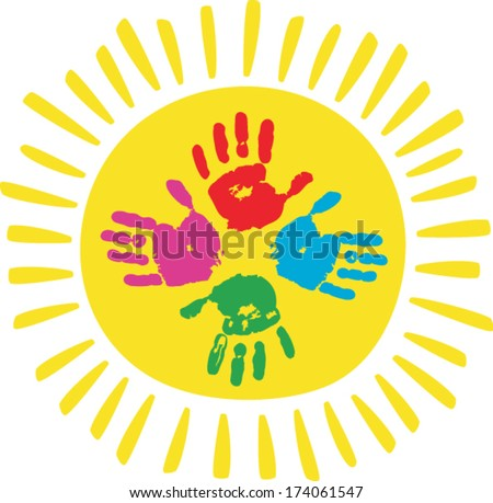 Color palms with sun. Children palms print. - stock vector
