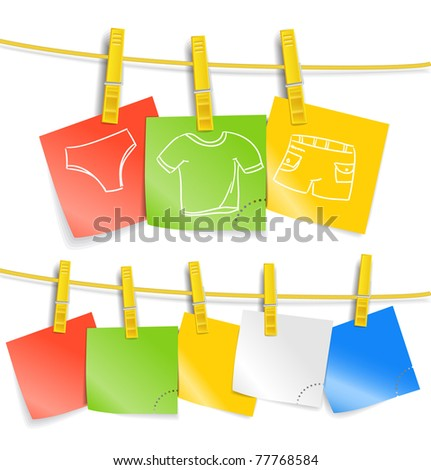 Color paper sheets with pictures on rope - stock vector