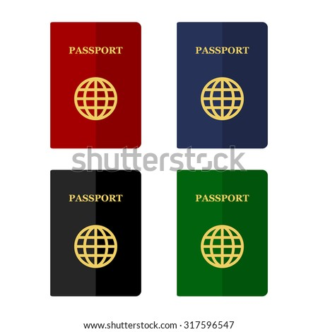 Color Passports Icons Set in Flat Style. Vector - stock vector