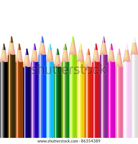 Color Pencils, Isolated On White Background, Vector Illustration - stock vector