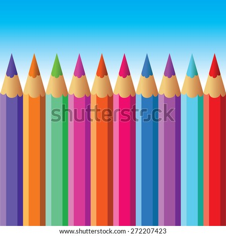 Color pencils on blue background - stock vector