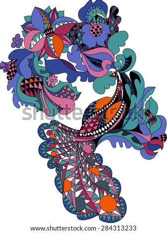 color picture Firebird with flowers in folk style - stock vector
