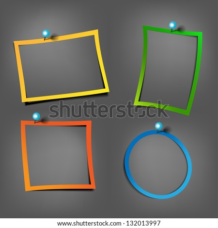 Color Postit frames on the black wall with Pushpin - stock vector