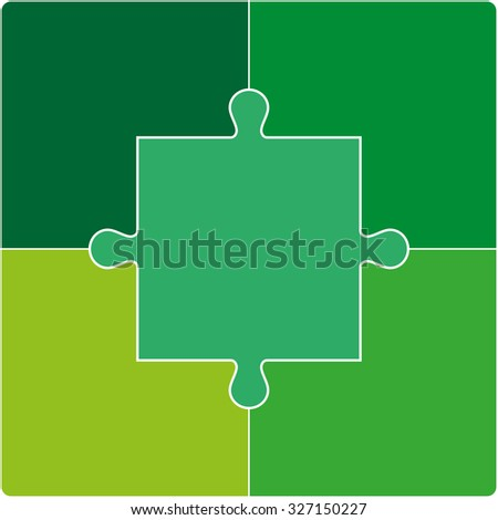 Color Puzzle set of five pieces. Vector illustration - stock vector
