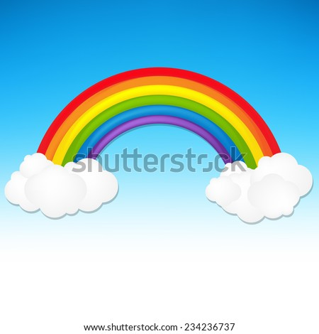 Color Rainbow With Cloud With Gradient Mesh, Vector Illustration - stock vector