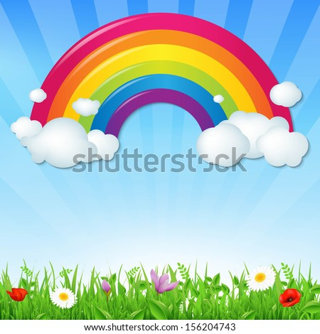 Color Rainbow With Clouds Grass And Flowers, With Gradient Mesh, Vector Illustration - stock vector