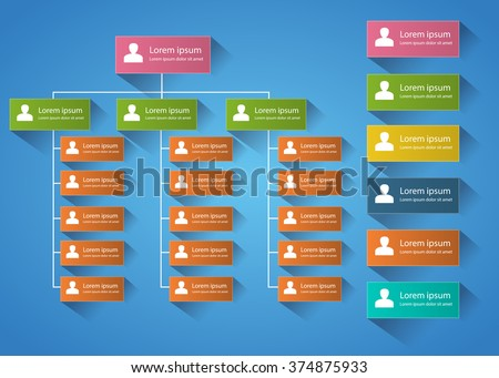 Color Rectangle Organization Chart Infographics With Shadow, People Icon, Business Structure Concept, Business Flowchart Work Process, Vector Illustration - stock vector