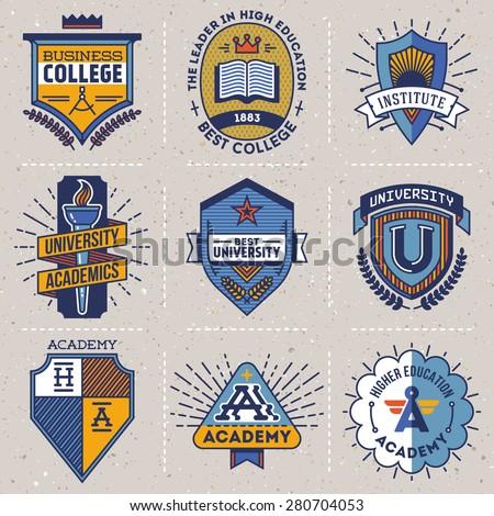 Color retro design insignias high education logotypes set 1. Vector vintage elements. Cardboard texture. - stock vector