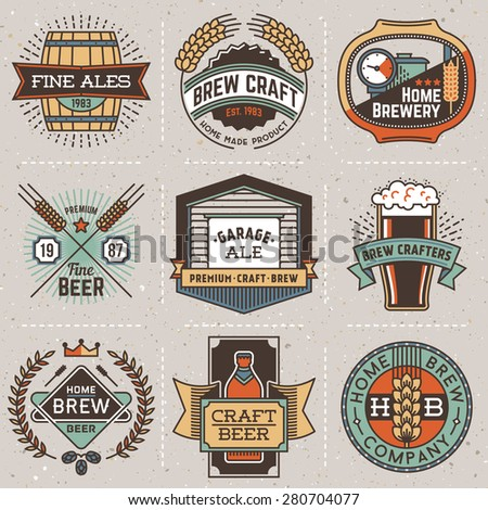Color retro design insignias line art logotypes home brewery set 1. Vector high quality vintage elements. Cardboard texture. - stock vector