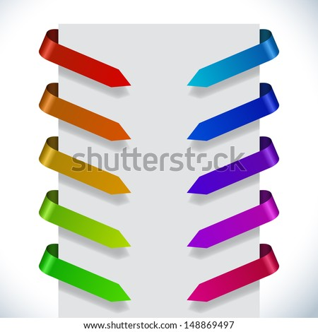 Color ribbon pointers bending around paper vector set. - stock vector