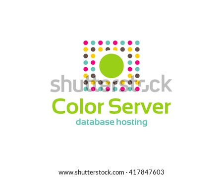 Color Server - logo that can be used by service companies dedicated to database hosting, server rentals, technology and systems. - stock vector