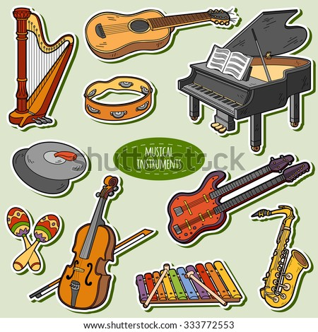 Color set with musical instruments, vector cartoon stickers - stock vector