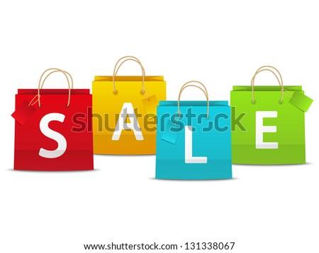 Color shopping bags - sale concept - stock vector