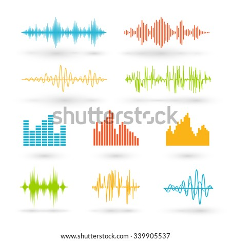 Color sound waves. Music technology, digital design, stereo equalizer, audio recorder, voice waveform, vector illustration - stock vector