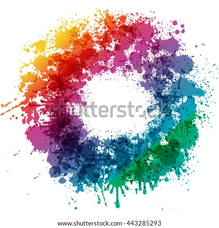 Color splash abstract colorful circle shape illustration. - stock vector