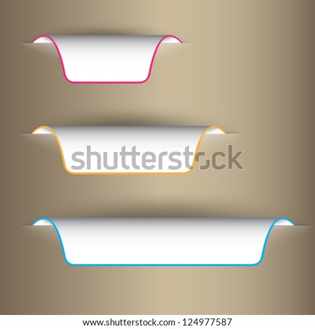 Color stickers on the edge of the (web) page - stock vector