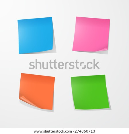 Color Sticky Notes. EPS10 vector. - stock vector