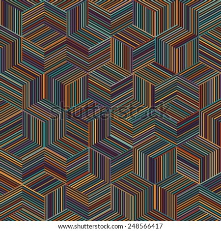 color stripe cube pattern - stock vector