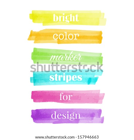 Color stripes drawn with markers. Stylish elements for design. Vector - stock vector