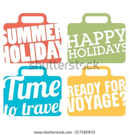 Color Suitcase logo. Travel logo set - stock vector