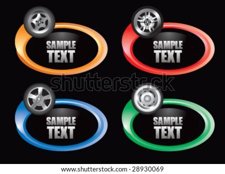 color swoosh tire  icon - stock vector