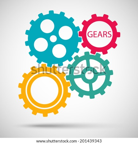 color toothed gears (cogs) is meshed on gray background. vector illustration eps10 - stock vector