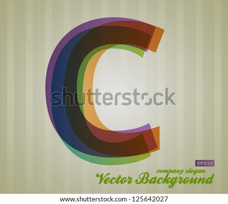 Color Transparency Letter. Retro Background. Symbol C. - stock vector