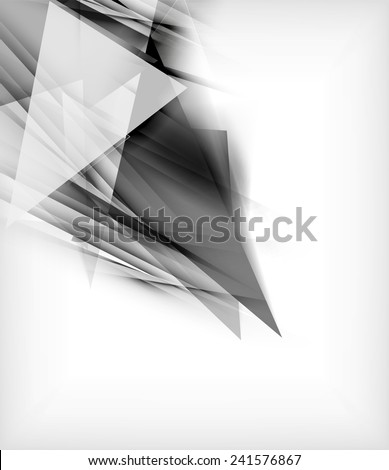 Color triangles, unusual abstract background. Realistic paper 3d composition with shadows and glossy elements, origami concept layout - stock vector