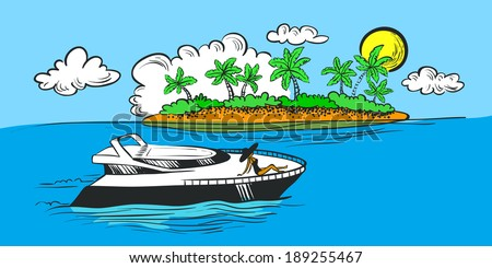 Color tropical seascape with yacht and island - stock vector