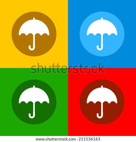 Color Umbrella Icons Set in Flat Design Style. Vector illustration - stock vector