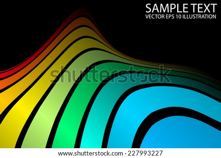 Color vector background arcs spreading template - Vector curved rainbow background illustration - stock vector