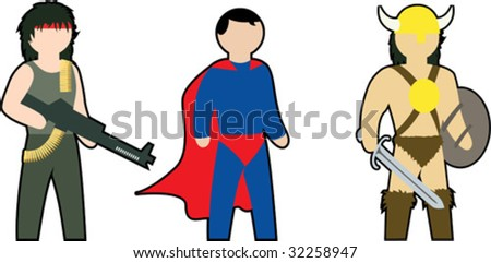 color vector clip-art of action heroes - stock vector