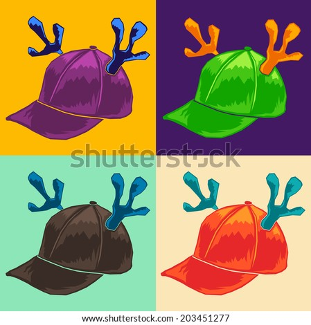 Color Vector collection -  cap with reindeer horns - stock vector