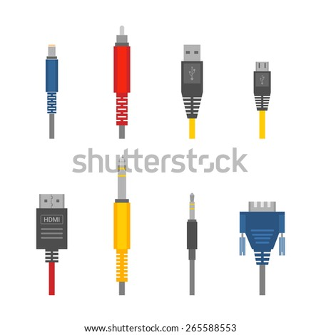 Color vector color outline various audio connectors and inputs set - stock vector